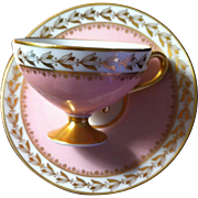 SALE HUTSCHENREUTHER PEDESTAL DEMITASSE CUP/SAUCER IN DELICATE PINK WITH GILT TRIM