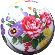 SALE French china round powder box with floral design