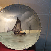 SOLD Limoges Decorators Plate with Boat and Sails