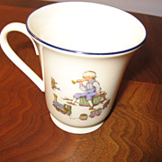 "Lenox Child""s Mug Decorated with Boy Playing a Horn, Trains, and Bear"