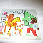 Black Americana Happy  4th Birthday Card with Golliwog and Animals