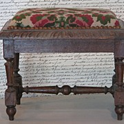 SALE French Louis XIV Style Needlepoint Tabouret (Footstool)