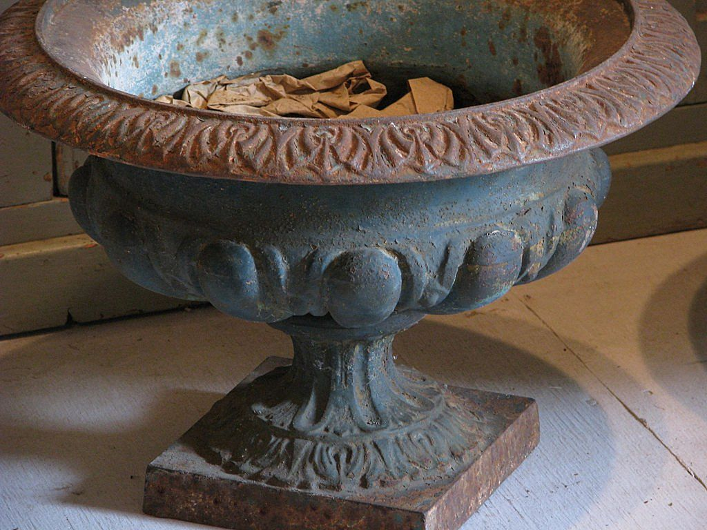 19th Century French Cast Iron Classical Garden Urns Pair