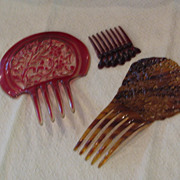 Collection of 3 Vintage Celluloid Hair Combs