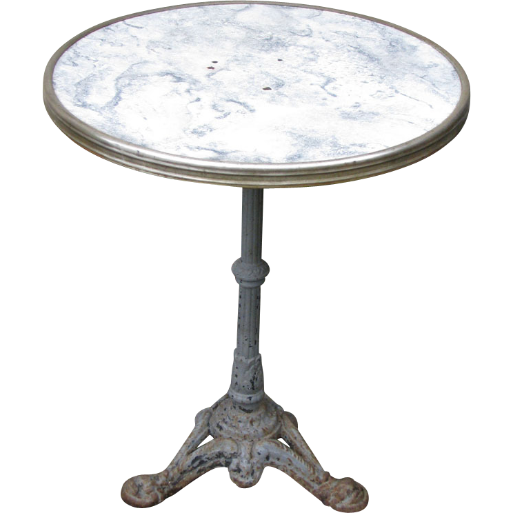 Vintage French Iron Base Gueridon Bistro Table From