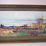 Impressionist Oil Painting on Board Fisherman at Edge of Water Signed Faro