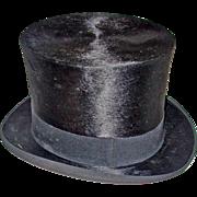 Vintage Black Seal Fur Top Hat