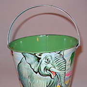 Vintage Sand Pail with Jungle theme by US Metal Toy MFG Co