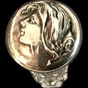 Art Nouveau Cut Glass Perfume With Sterling Portrait Top