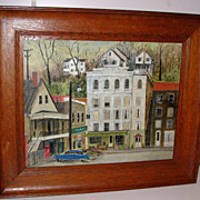 Folk Art Painting Ellicott City Maryland Street Scene 1950's on Board
