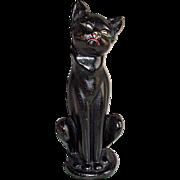Hubbley Cat Iron Sitting Cat Doorstop #462 in Black Paint