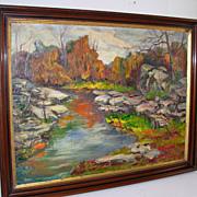 Impressionist River Landscape Oil on Canvas Signed Grace Jorgensen
