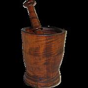 Antique Folk Art Tiger Maple Wooden Mortar & Pestle