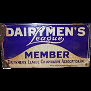 Vintage Advertising Dairymen's League Member Enamel Sign