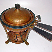 Arts & Crafts Signed Jos. Heinrichs Hammered Copper Chafing Dish