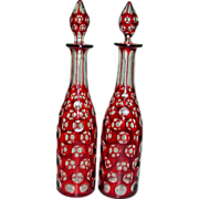 Antique Ruby Red to Clear Bohemian Glass Decanters Pair