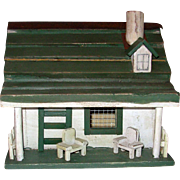 Antique Folk Art Bird House with Picket Fence & Porch Chairs