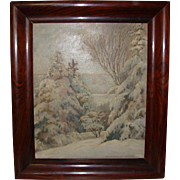 Impressionist School Oil On Board by Helen P. Williams New York Titled WINTER