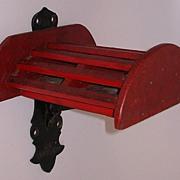 Antique J W Fiske Horse Rains Bracket in Original Red Paint