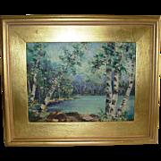 Impressionist Oil on Board Birch Trees