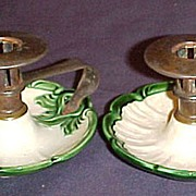 Austrian Arts & Crafts Pottery w/Metal Candle Holders pair