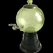 Vintage Lash's California Orangeade Syrup Dispenser Green Globe & Art Deco Black Glass Base