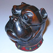 Victorian Carved Wood Bulldog Inkwell with Glass Eyes