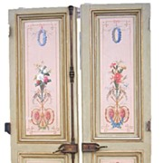 Pair of French Louis XVI Style Painted Doors Hardware