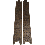 Vintage Hand Carved Narrow Doors Panels from Costa Rica Monkeys Fish Birds Pantry Wine Cellar