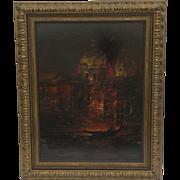 Vintage Painting Oil on Canvas Venice by Steven Shortridge