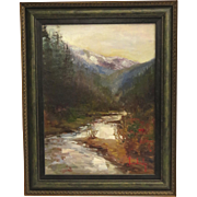 Framed Oil on Canvas of Mountain and River Scene by Steven Shortridge