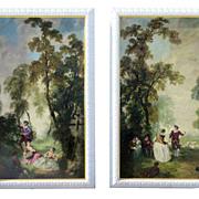 Pair Large Painted Panels Depicting Romantic French Genre Scenes