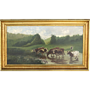 Oil on Canvas by William Jacob Hays, SR. (1830–1875) Cows River