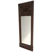 French Empire Mahogany and Brass Inlaid Mirror c 1810