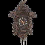 Black Forest Carved Bird Fox Cuckoo Clock c 1900