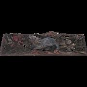 "Asian Carved Polychrome Panel 72"" long Foo Dog Lion"