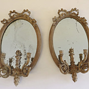 Pair of Louis XV Style Oval Mirrors Two Arms