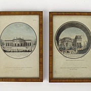 Pair of Architectural Prints in Crossbanded Satinwood Frames