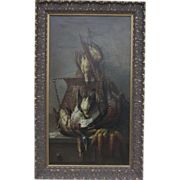 Flemish Still Life Birds and Carrots Oil on Canvas Dutch Style