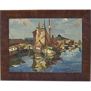 Large Oil on Canvas Harbor Scene by Alfred Braendgaard Brandgaard Anderson Signed Dated 1930