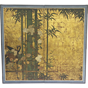 Early 19th Century Japanese Edo Period Two Panel Screen with Gilt background Raised Flowers Cr