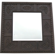 Square Mirror with Quatrefoil and Dental Motif
