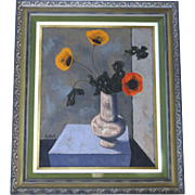 """Oil on Canvas By Alvaro Guillot Signed Still Life of Poppies 32"""" x 26""""  20th Century"""