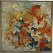 Oil on Canvas Abstract Painting by Mary A. Carey c 1960 Signed