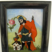 Spanish Colonial Reverse Painted Framed Folk Painting.
