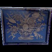 English 19th Century Cut Paper Work Shadow Box