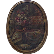 Large 19th Century Oval Oil on Canvas Still Life Flowers Fruit Vargueno in the Dutch 17th Cent