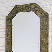 Brass Repousse Mirror with Grape Vine Motif