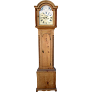 English Painted Dial Birds Pine Grandfather Clock