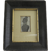 Small Reverse Painted Silhouette in Black Frame with Gilt Liner Early 19th Century or Late 18t